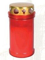Mezzo cero liturgico con contenitore in plastica rossa e coperchio - dimensioni 10,5x6,7 cm