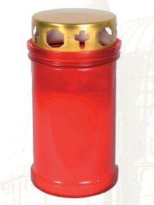Copertina di 'Mezzo cero liturgico con contenitore in plastica rossa e coperchio - dimensioni 10,5x6,7 cm'