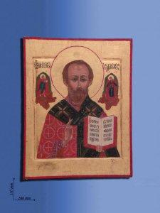 """Copertina di 'Icona in legno  """"San Nicola con libro aperto"""" - dimensioni 33x26 cm'"""