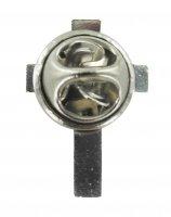 Immagine di 'Crocetta distintivo in metallo liscio nichelato con pin - 2 cm'