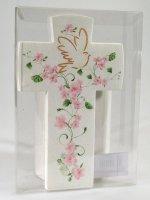 Immagine di 'Croce con colomba effetto pietra - Fiore rosa'