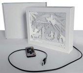 Lampada-quadretto con presepe - dimensioni 18,5x24 cm