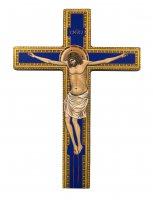 Croce icona dipinta a mano su legno cm 19x26