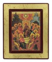 """Immagine di 'Icona in legno """"Discesa dello Spirito Santo"""" - dimensioni 18x14,5 cm'"""