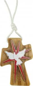 Copertina di 'Bomboniera cresima: Croce in ulivo con colomba e cordoncino - 4,7 cm'