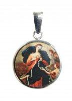 Medaglia Maria che scioglie i nodi tonda in argento 925 e porcellana
