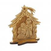 Presepe in legno d'ulivo con capanna - altezza 8 cm