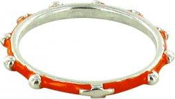 Copertina di 'Fedina rosario argento smaltata arancione mm 24'