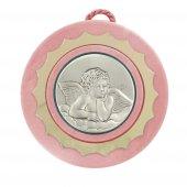 Sopraculla tondo di colore rosa con angioletto in argento - diametro 9 cm