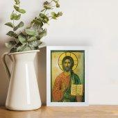 """Immagine di 'Quadretto """"Cristo Pantocratore"""" con lamina oro e cornice minimal - dimensioni 15x10 cm'"""