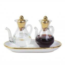 Copertina di 'Ampolline anfora in ceramica con simbolo Tau - Modello Bianco oro vetro beccuccio'