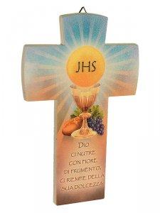Copertina di 'Croce comunione effetto pietra con calice a particola'