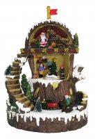Villaggio natalizio con Babbo Natale in movimento, luci, musica (22 x 30,5 x 17,5 cm)