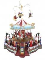 Villaggio natalizio con giostra in movimento, luci, musica (30 x 33,5 x 27 cm)