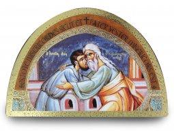 Copertina di 'Tavola della Parabola del Figlio Prodigo stampa su legno ad arco - 18 x 12 cm'