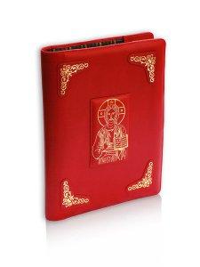 """Copertina di 'Coprilezionario in pelle con lavorazione extra """"Cristo Pantocratore"""" - colore rosso'"""