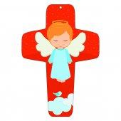 """Croce rossa """"Angioletto sulla nuvola"""" - altezza 13 cm"""
