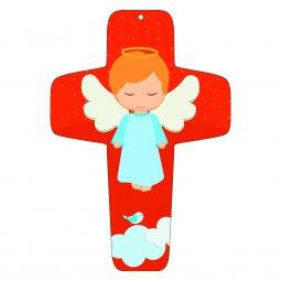"""Copertina di 'Croce rossa """"Angioletto sulla nuvola"""" - altezza 13 cm'"""