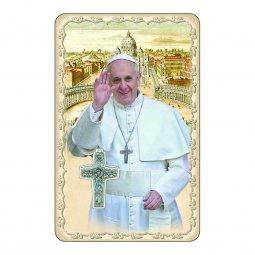 """Copertina di 'Card """"Papa Francesco"""" multilingue con frase e crocetta - (10 pezzi)'"""