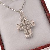 Collana con crocetta geometrica in strass e catenina in argento 925