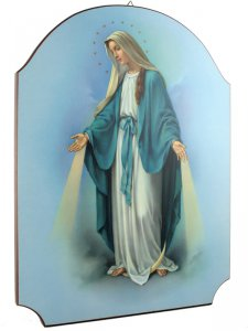 """Copertina di 'Quadro in legno sagomato """"Madonna miracolosa"""" - dimensioni 40x30 cm'"""