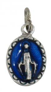 Copertina di 'Medaglia Miracolosa ovale in metallo con smalto blu - 1 cm'