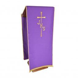 Copertina di 'Coprileggio viola con frangia e ricamo a croce con scritta IHS'
