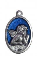 Medaglia ovale in metallo raffigurante un angelo cherubino (azzurro) 2,5 x 1,5 cm