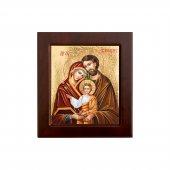 """Icona bizantina in legno e sfondo oro """"Sacra Famiglia"""" - dimensioni 14,5x16 cm"""
