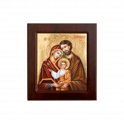 """Copertina di 'Icona bizantina in legno e sfondo oro """"Sacra Famiglia"""" - dimensioni 14,5x16 cm'"""