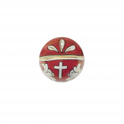 Copertina di 'Acquasantiera in ceramica tonda cm 6,5 - Modello Rubino e oro'