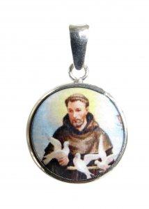 Copertina di 'Medaglia San Francesco tonda in argento 925 e porcellana - 1,8 cm'