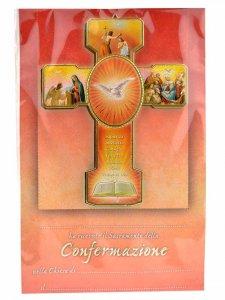 Copertina di 'Croce cresima con attestato ed ovale in rilievo'