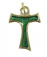 Croce tau in metallo dorato con smalto verde cm 2