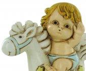Immagine di 'Angelo dondolo in resina cm 6,5 azzurro'