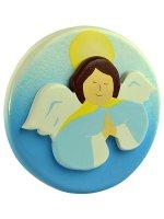 Quadretto tondo angelo blu a mani giunte di  su LibreriadelSanto.it