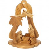 Presepe a campana in legno d'ulivo per albero di Natale - altezza 8,5 cm