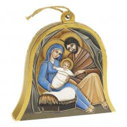 """Copertina di 'Icona in legno a campana """"Natività nella capanna"""" - altezza 10 cm'"""
