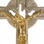Immagine di 'Croce astile in nikel con Cristo dorato - altezza 200 cm'