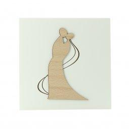 Copertina di 'Quadretto in legno bianco con coppia di sposi - dimensioni 14x14 cm'