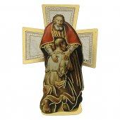 """Croce sagomata con lamina oro """"Il figliol prodigo"""" - dimensioni 9x14 cm"""