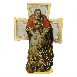 """Copertina di 'Croce sagomata con lamina oro """"Il figliol prodigo"""" - altezza 14 cm'"""
