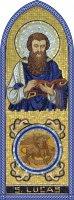 Quadro Evangelista San Luca in legno a cuspide - 10 x 27 cm