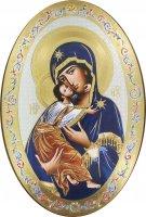 Icona Madonna della tenerezza stampa su legno ovale - 20 x 30 cm