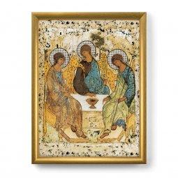 """Copertina di 'Quadro """"Trinità"""" di Rublëv con lamina oro e cornice dorata - dimensioni 44x34 cm'"""