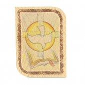 """Icona arrotondata in legno con simboli """"Santa Cresima"""" - dimensioni 11x8 cm"""