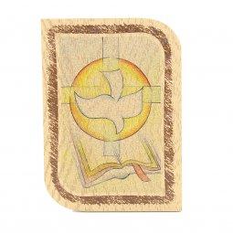 """Copertina di 'Icona arrotondata in legno con simboli """"Santa Cresima"""" - dimensioni 11x8 cm'"""
