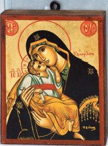 """Copertina di 'Icona in legno """"Madonna dolce amore dal manto nero"""" - 12  x 9,5 cm'"""