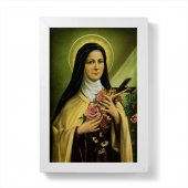"""Quadretto """"Santa Teresa di Lisieux"""" con cornice minimal - dimensioni 15x10 cm"""