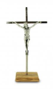 Copertina di 'Crocifisso da tavolo in metallo con base di legno - 20 cm'